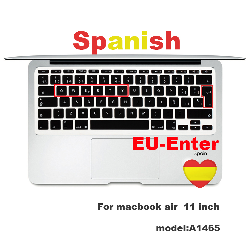 2020 Spanish Keyboard Protective Film for Mac Book Pro 13 A2159 Pro13 Air A1466 A1708A1989A1932 EU Key Silicone Keyboard Cover-Air 11 A1465 A1370