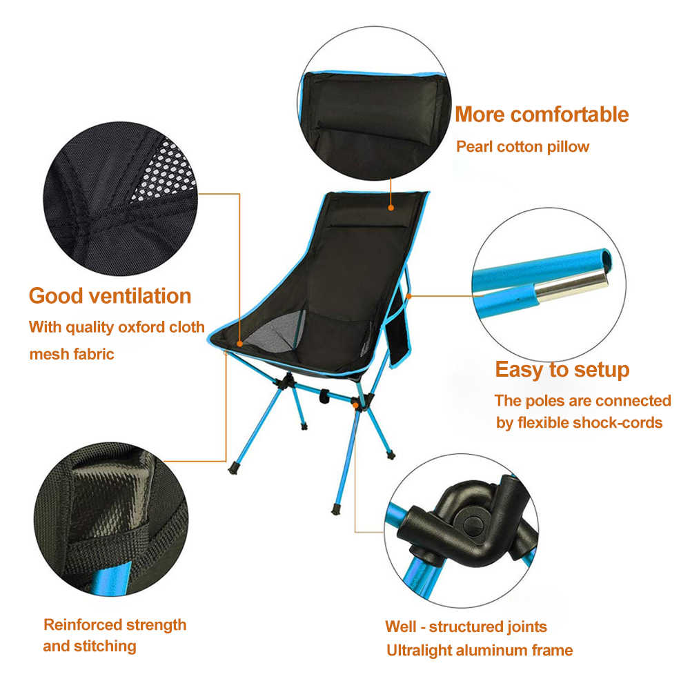 Hooru Beach Camping Chair Backrest Folding Fishing Lounge Chair Lightweight Outdoor Portable Backpacking Deck Chairs For Travel Beach Chairs Aliexpress