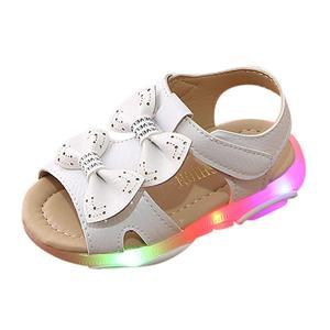 Dla dzieci dla dziewczynek buciki łuk węzeł światła Led świecące sandały 1-5 lat Anti-slip 2020 letnie miękka podeszwa buty do biegania