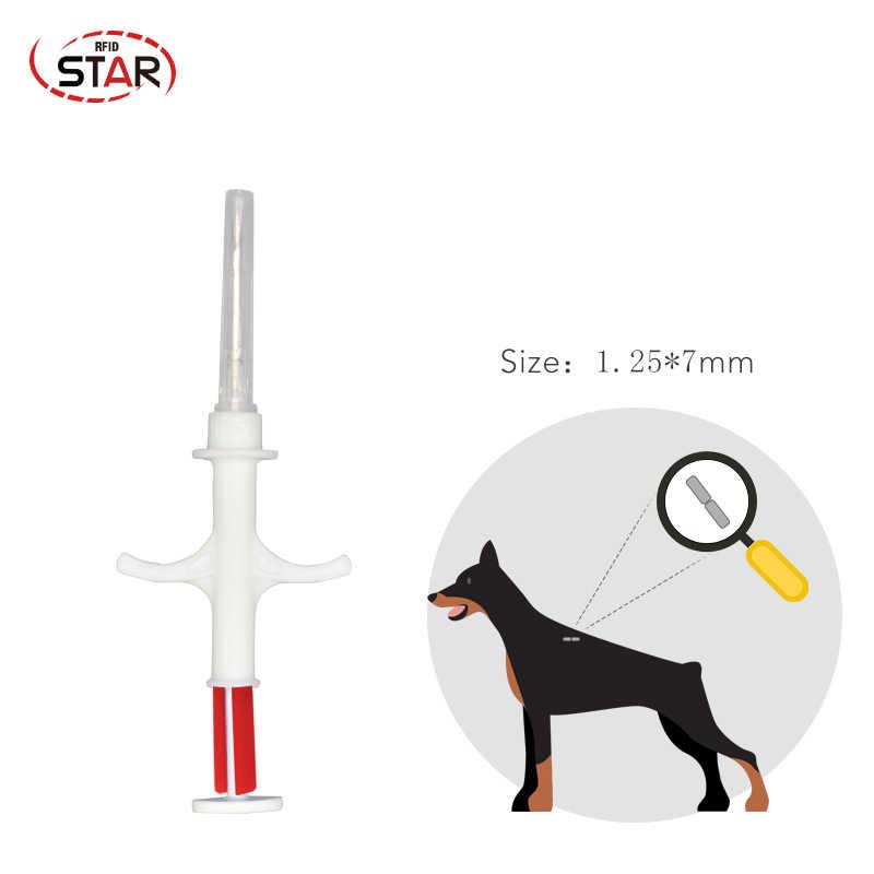 5 個 FDX-B 1.25 × 7 ミリメートル猫犬マイクロチップ動物シリンジ ID インプラントペットチップ針獣医 RFID インジェクタピットタグため養殖魚