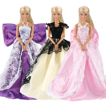 Newest fashion high quality 3 dresses/set doll clothes accessories purple pink black long tial party dress for 11.5 inch barbie