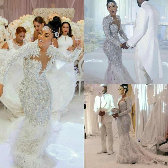 Charbel zoe Elie saab Yousef alijasmi Mermaid Wedding Dresses 2020 Long sleeve White Feather Bridal Dress Go Zuhair Kylie Jenner