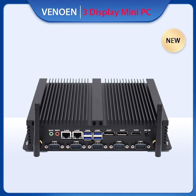 Endüstriyel Intel Core i7 8550U i5 8250U Mini PC fansız çift Lan LPT baskı Port RS232 485 COM Windows 10 pro fabrika bilgisayar