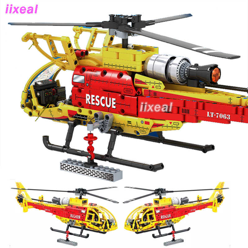 Children/'s Helicopter Toy Building Blocks Light Up 3 in 1