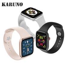 KARUNO akıllı saat kan basıncı nabız monitörü akıllı saat es için Android iOS spor izci erkekler kadınlar giyilebilir Smartwatch