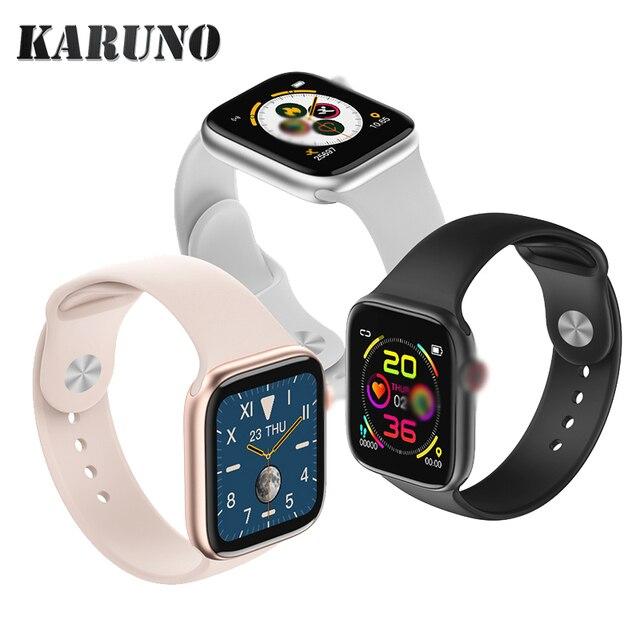 Karunoスマート腕時計血圧心拍数モニターのためのandroid iosフィットネストラッカー男性女性ウェアラブルスマートウォッチ