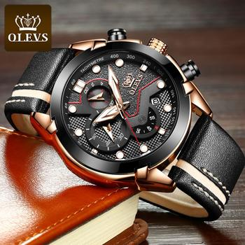 New Fashion OLEVS Sport Chronograph Men's Watches Top Brand Casual Leather Strap Waterproof Date Quartz Watch Man Clock 1