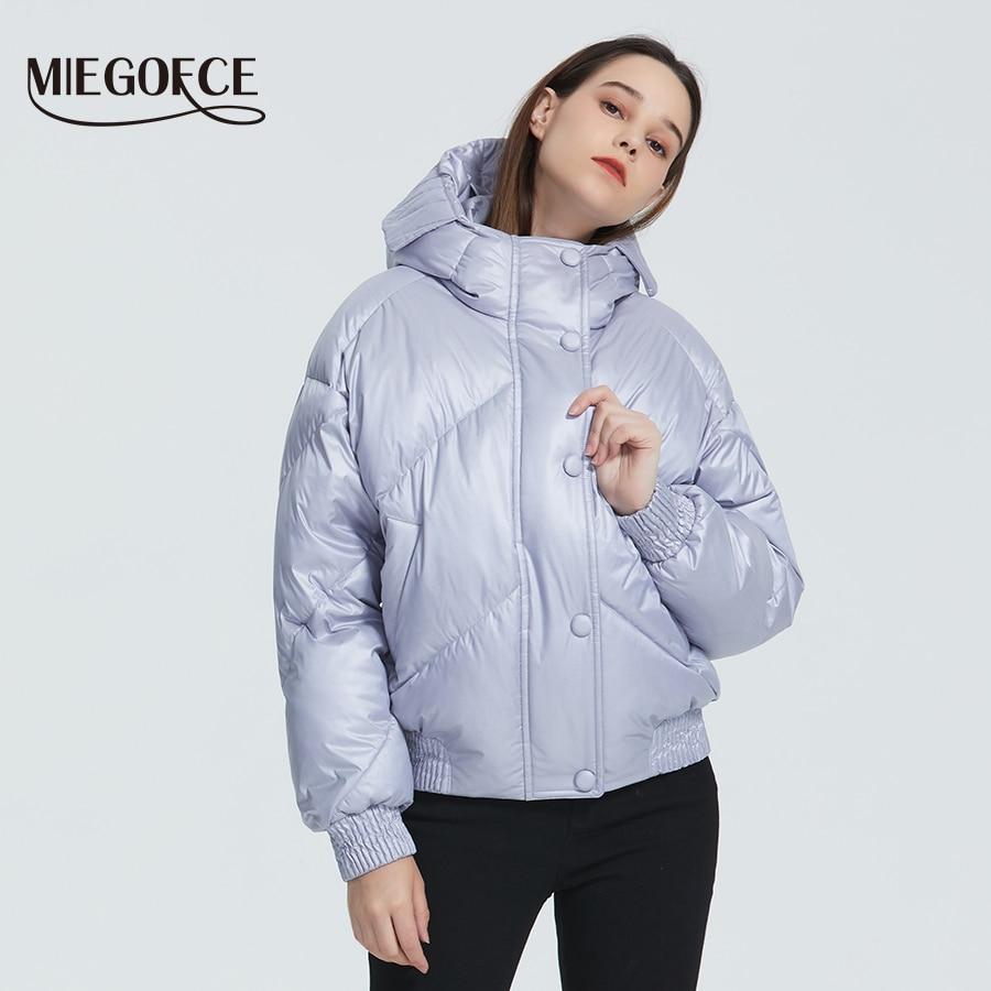 MIEGOFCE 2019 Новый дизайн зимнее пальто дутые куртки женская парка утепленная свободного кроя длина до талии с карманами Повседневная Свободная...