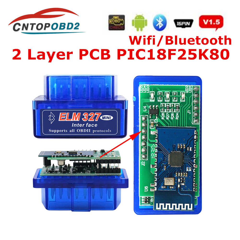 Super Mini ELM327 Bluetooth V1.5 PIC18F25K80 Double PCB Android IOS PC WIFI ELM 327 1.5 25K80 OBD2 Car Disgnostic Scanner