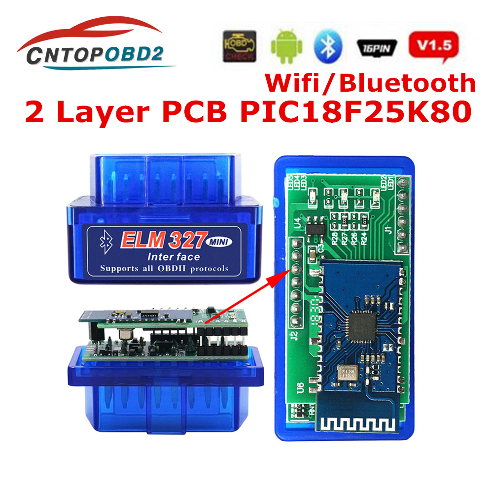 Best ELM327 PIC18F25K80 Bluetooth V1.5 Double PCB OBD2 Car Disgnostic Tool ELM 327 V1.5 PIC18F25K80 Auto Scanner For Android/PC