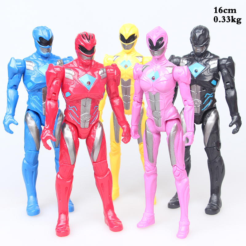 16CM 5pcs/set Action Figure Christmas Gifts Doll Toys Power Ranger with Light toys for children