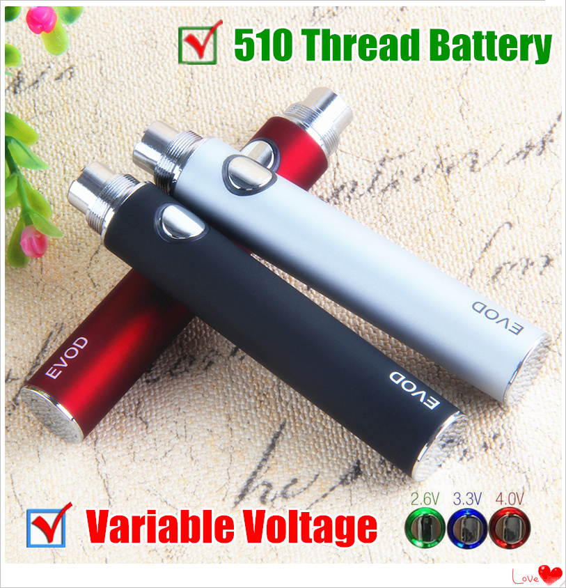 1Pcs EVod Variable Voltage 510 Thread Battery E Cigarettes 1100mAh EVod VV Twist Batteries 3.3~3.7~4.2V For Ego Ce4 Mt3 Atomizer