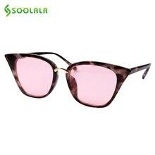 SOOLALA Cat Eye Sunglasses Women 2019 Brand New UV400 Vintage Eyewear Ladies Cateye Red Tea Night Pink Gray