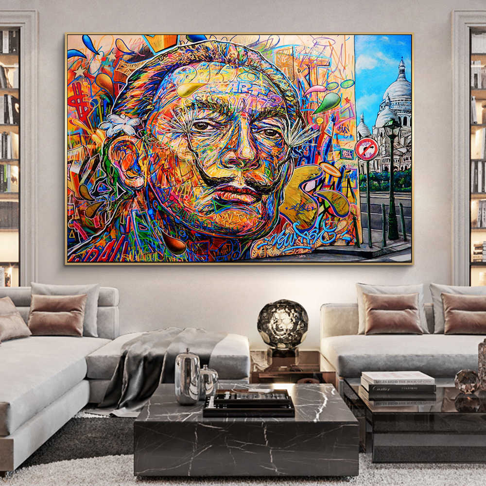 Abstracte Salvador Dali Graffiti Art Canvas Schilderijen Op De Muur Posters En Prints Street Art Canvas Pictures Home Decor