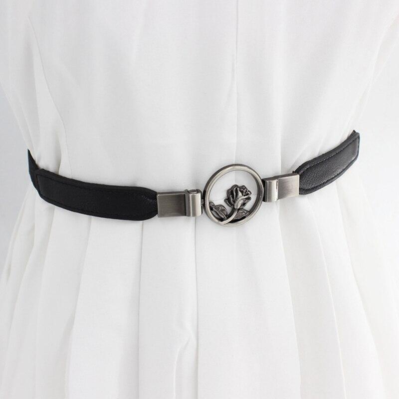Belt Accessories With Dress Girdle Flower Hooks Buckle Fine Elastic Stretch Fashion Slim Belt Korean Style New