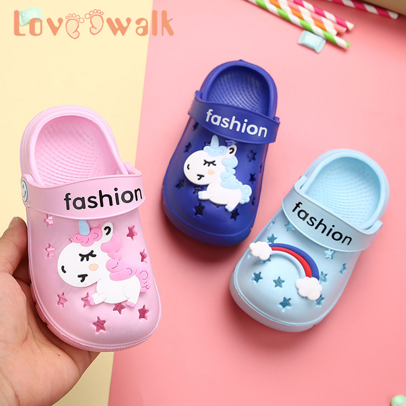 14 Style Toddler Girl Sandals Garden Shoes Anti Slip Boys Slippers Cartoon Unicorn Rainbow Shoes For Girls Beach Slippers