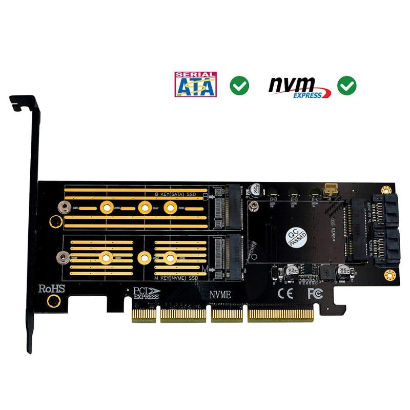 3 in 1 mSATA <font><b>M.2</b></font> <font><b>PCIE</b></font> <font><b>NVMe</b></font> SSD <font><b>to</b></font> PCI-E 3.0 4X SATA 3.0 <font><b>Adapter</b></font> Card for <font><b>M2</b></font> <font><b>NVMe</b></font> AHCI SATA mSATA Solid State Disk Converter hot image