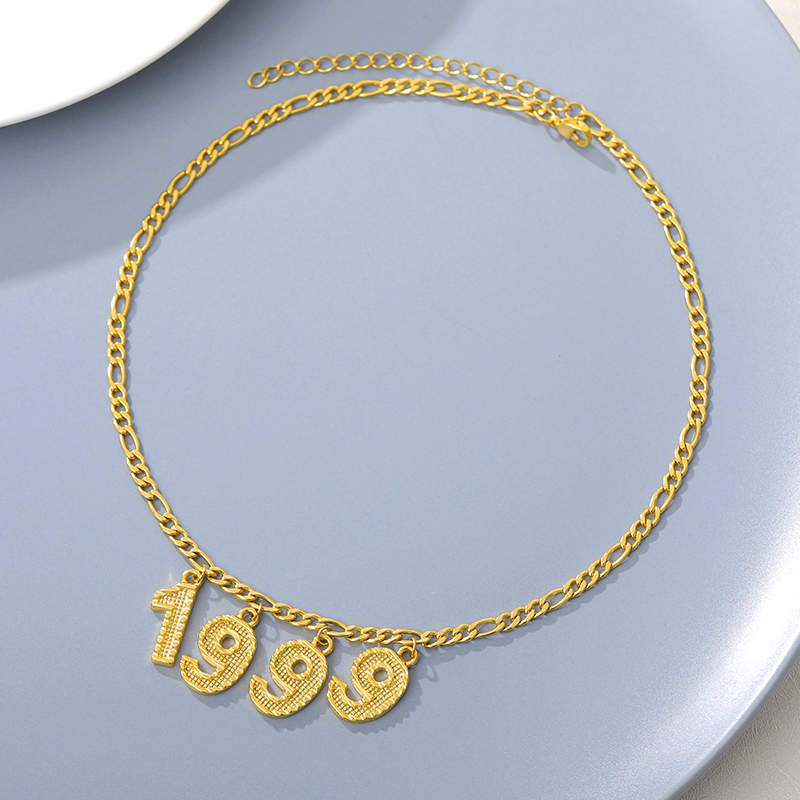 Custom English Number Necklaces Personalized  Gold Chain Digital Necklace Women BFF Birth Year 1998 1999 Collares Mujer Jewelry