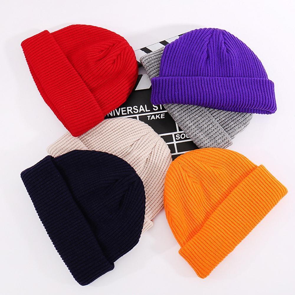 1pc Unisex Men Women Beanie Hat Warm Ribbed Winter Turn Ski Fisherman Docker Hat