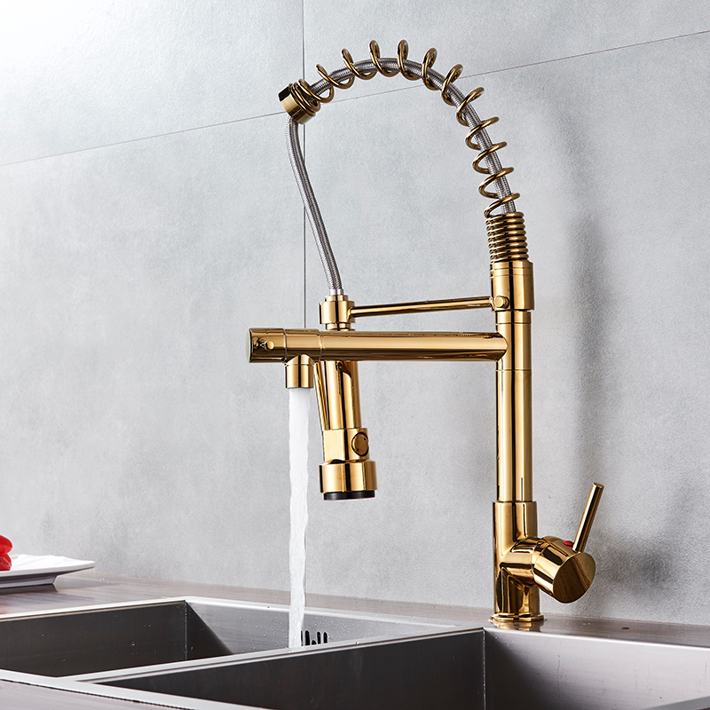 Hb587afcf61d8469a912c4e51f34c84e3a Uythner Black Brass Kitchen Faucet Vessel Sink Mixer Tap Spring Dual Swivel Spouts Hot and Cold Water Mixer Tap Bathroom Faucets