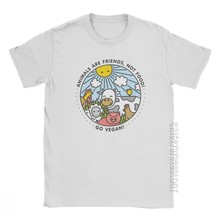 Go Vegan Animals Are Friends Not Food T-Shirt manches courtes hommes, Vintage coton t-shirts de base col rond T-Shirt surdimensionné Tops