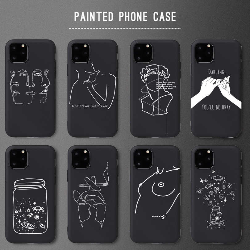 Creative Design Sexy Girl Soft Silicone Cases For iPhone 5 S SE X Phone Case For iPhone 6s 6 7 8 Plus XS Max XR 11Pro Matte Case