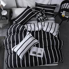 60 King Queen Size Home Textile Brief Nordic Bedding Set Men Women Bed Linen Black White Stripe Duvet Cover Pillowcase Sheet(China)