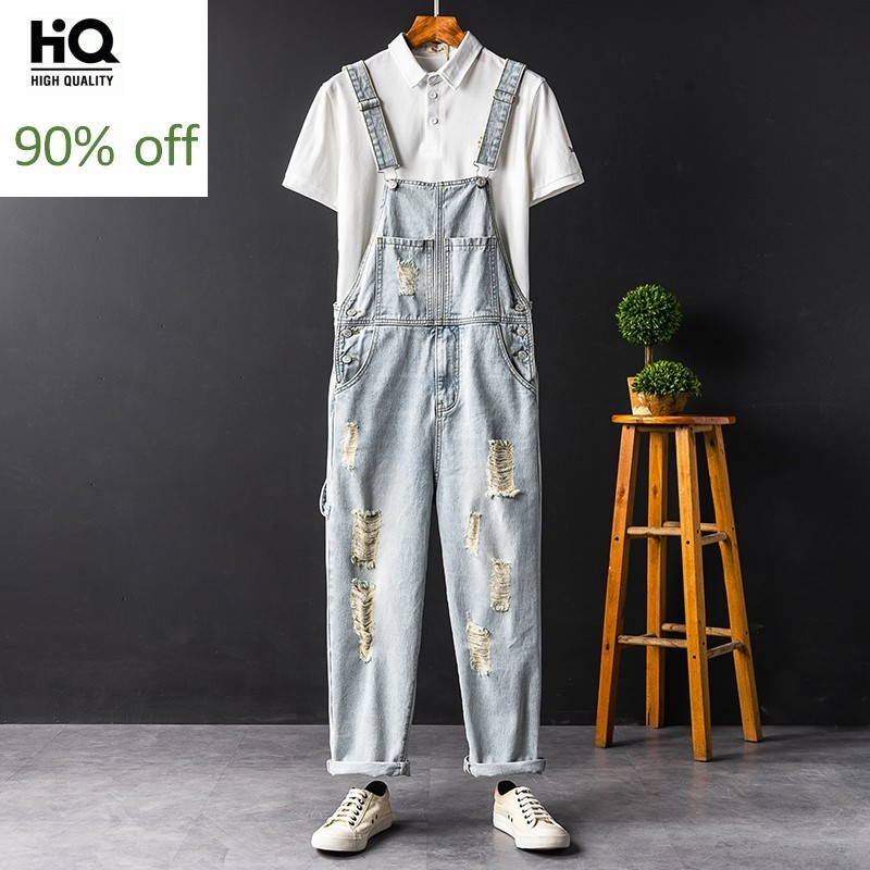 Japan Style Vintage Men Denim Jumpsuits Summer New Casual Ripped Hole Beggar Jeans High Street Light Blue Cowboy Overalls S-2XL