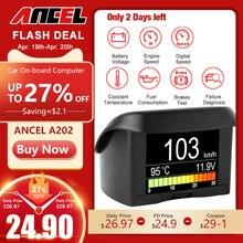ANCEL A202-جهاز كمبيوتر السيارة الرقمي OBD 2 ، شاشة عرض ، سرعة استهلاك الوقود ، مقياس درجة الحرارة ، OBD2