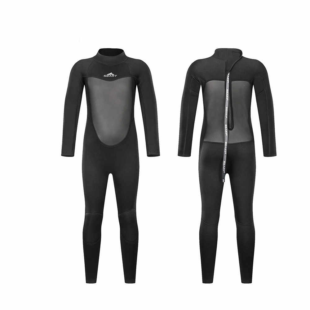 SBART New 2mm Neoprene Wetsuit for Boy Girl Full Black Full body One Piece Swimsuits for Diving Surfing Sailing Snorkeling