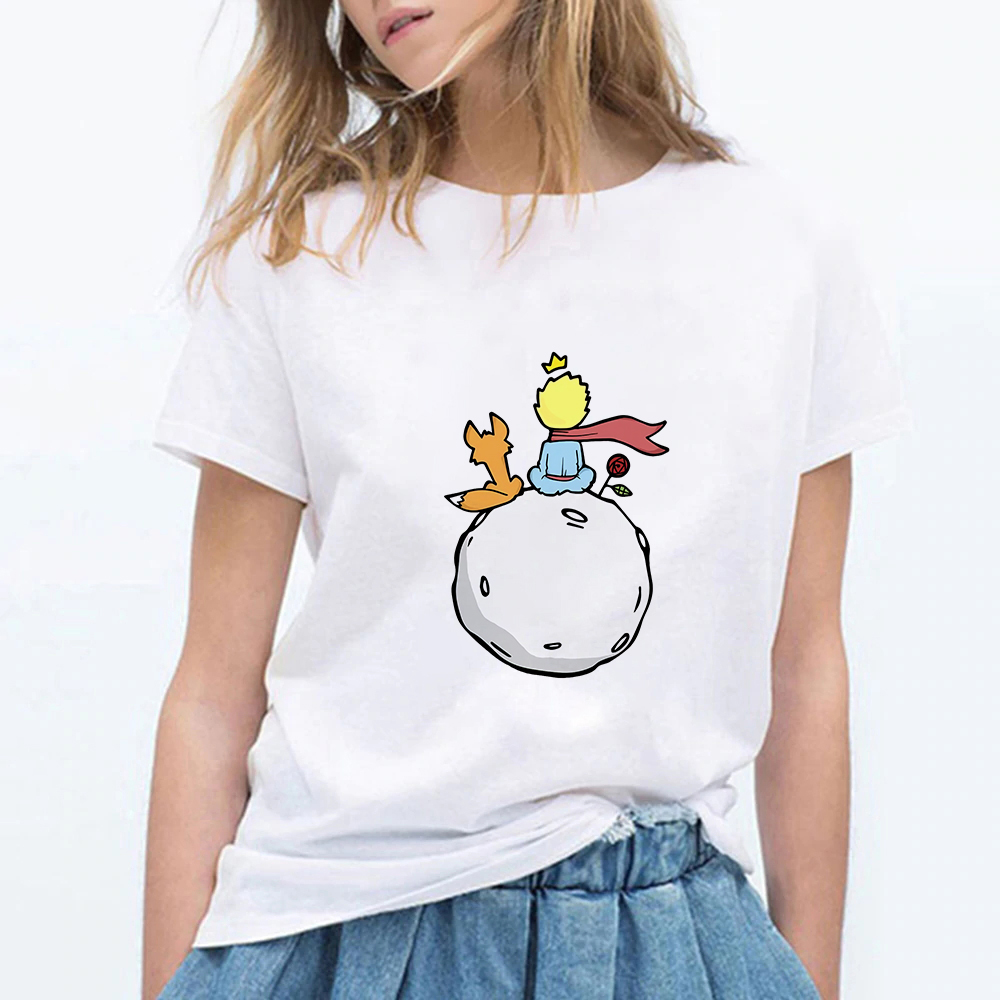 FIXSYS Streetwear Beautiful Retro Pretty Vestidos Cute Pop Harajuku Hip Hop T-shirt Little Prince Art Printing Female T-shirt