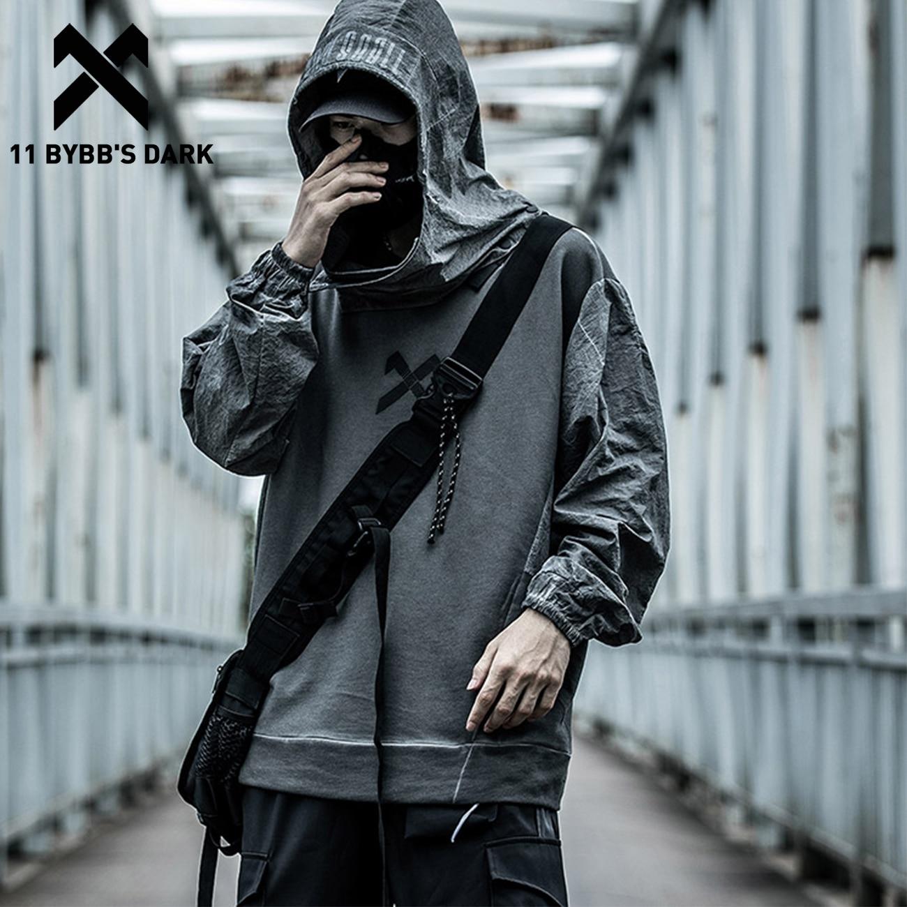 11 BYBB'S DARK Hip Hop Streetwear Hoodie Sweatshirts Men 2020SS Autumn Removable Vintage Hoodie Casual Harajuku Hoodie Pullover