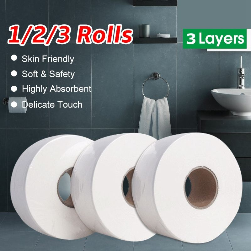 3 Rolls 3-Layer Skin Friendly Thicken Roll Paper Large-Volume Toilet Tissue Roll Native Wood Pulp Soft Toilet Paper For Home