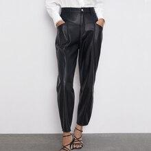 Fandy lokar брюки из искусственной кожи Женские Модные свободные брюки из искусственной кожи женские элегантные брюки с карманами на молнии