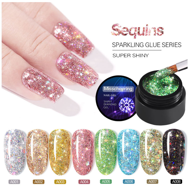 1pc Dazzling Sparkling Rainbow Nail Gel Polish Soak Off UV LED Nails Art Glitter Bling Rose Gold Silver Nail  Gel 5ml
