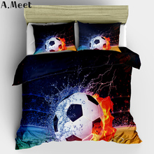 3D Bed Linen Football Bed Covers Bedding Sets Single Duvet Cover Set Soccer Sports Boys Man American NO Bed Sheets Ropa Cama 3PC
