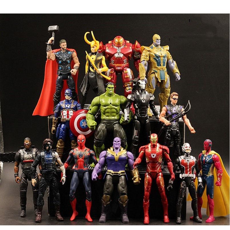 7pcs/set Avengers Captain America Venom Thanos Spider-Man Deadpool Iron Man PVC Action Figure Iron Man Collectible Model Toys