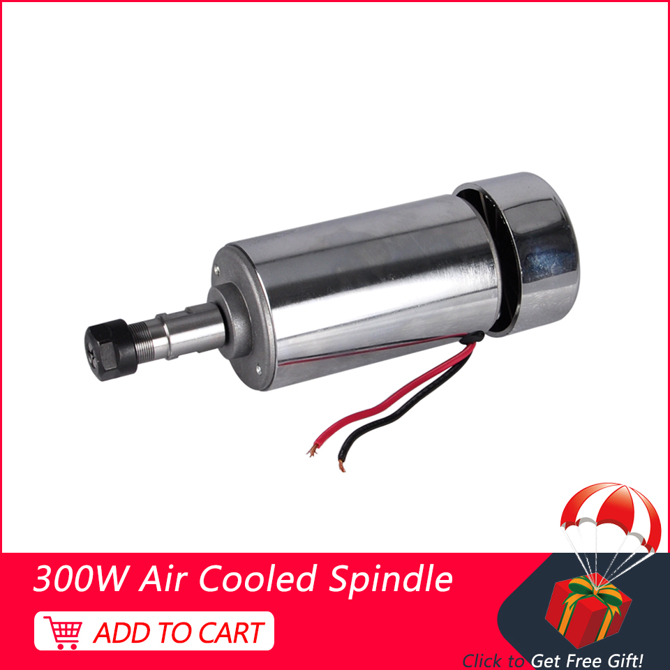 CNC Spindle 300W DC Spindle Motor ER11 Air Cooled Routers 52mm 0.3KW Milling Machine Tools