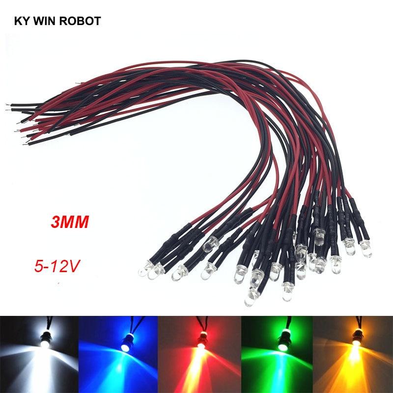 10 шт. 3 мм светодиодный 5-12 В 20 см Предварительно проводной белый красный зеленый синий желтый УФ RGB Диодная лампа декоративный светильник изл...