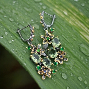 Image 3 - Dreamcarnaval 1989 féminin superbe vert Zircon boucle doreille anneaux ensemble de fiançailles fête bijou accrocheur Olivine fleur ER3874S2