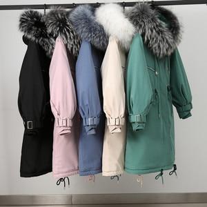 Image 5 - Chaqueta de invierno con capucha para mujer, nueva con capucha de piel grande, larga, con forro de piel, gruesa, cálida, para nieve, 2019