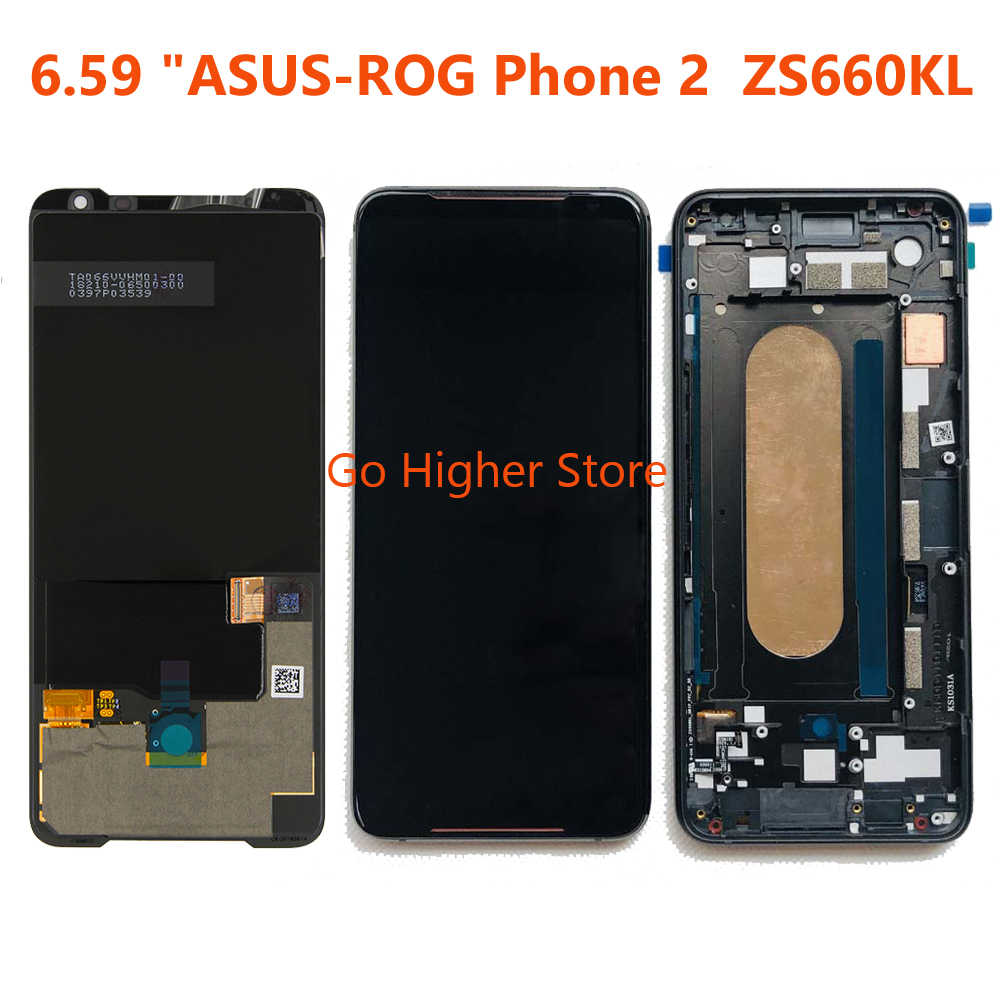 "AMOLED LCD สำหรับ 6.59 ""ASUS ROG โทรศัพท์ 2 Phone2 PhoneⅡ ZS660KL AMOLED จอ LCD + Digitizer แผงสัมผัสซ่อม"