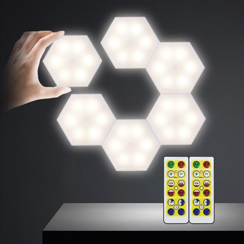Novidade, diy, lâmpada noturna sensível ao toque quantum, lâmpada hexagonal modular de parede, luz noturna de led, luzes para decoração
