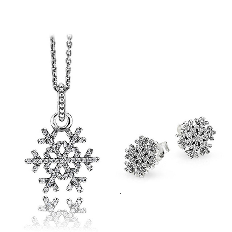 Snow Flake Charm Chain with Ear Rings For Girls//Women