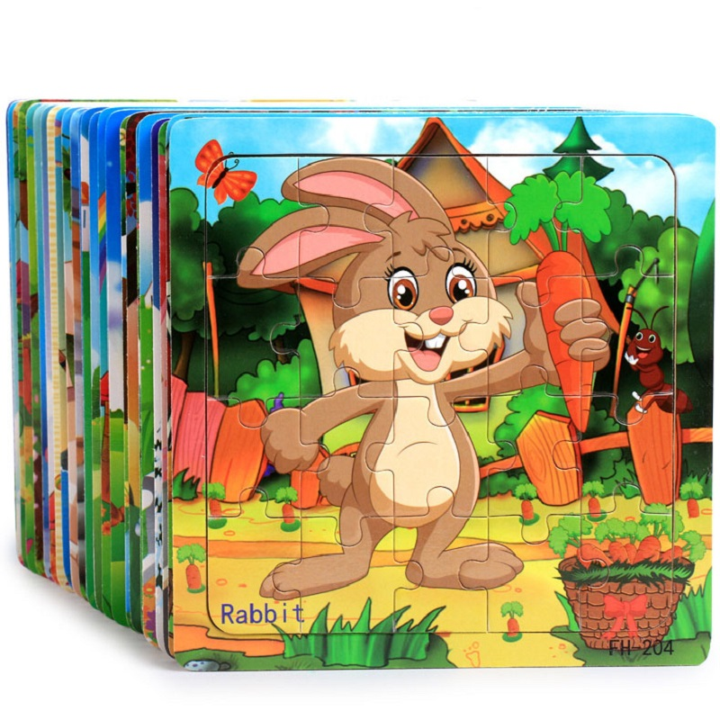 Montessori Wooden Toys Children Educational Early Education Cartoon Puzzle Children Math Game Teaching Aids