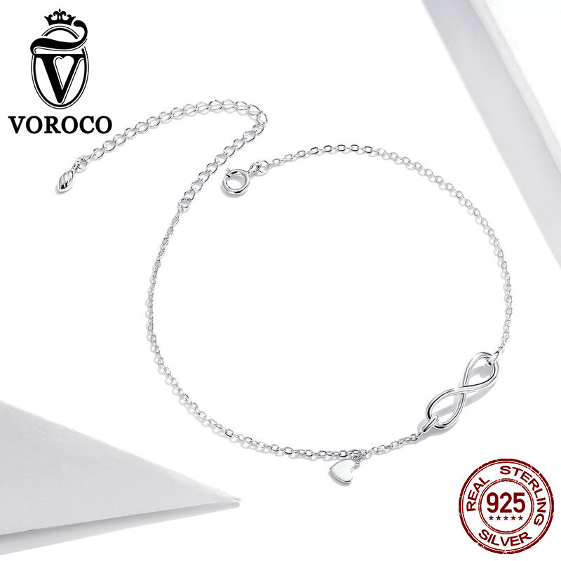 VOROCO 925 Sterling Silver Anklet Fine Jewelry Foot Chain For Women Girl S925 Silver Infinity Symbol Anklet Chain Leg Bracelet