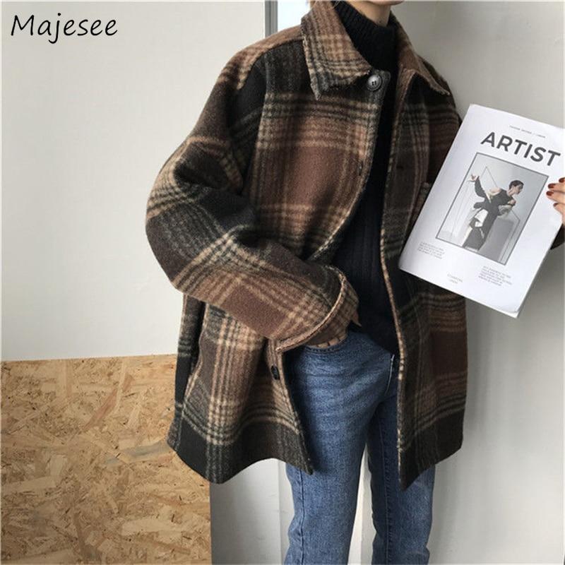 Wool Women Simple Plaid Student All-match Pockets Elegant Womens Outwear Winter Warm High Quality Harajuku Females Coat Fashion