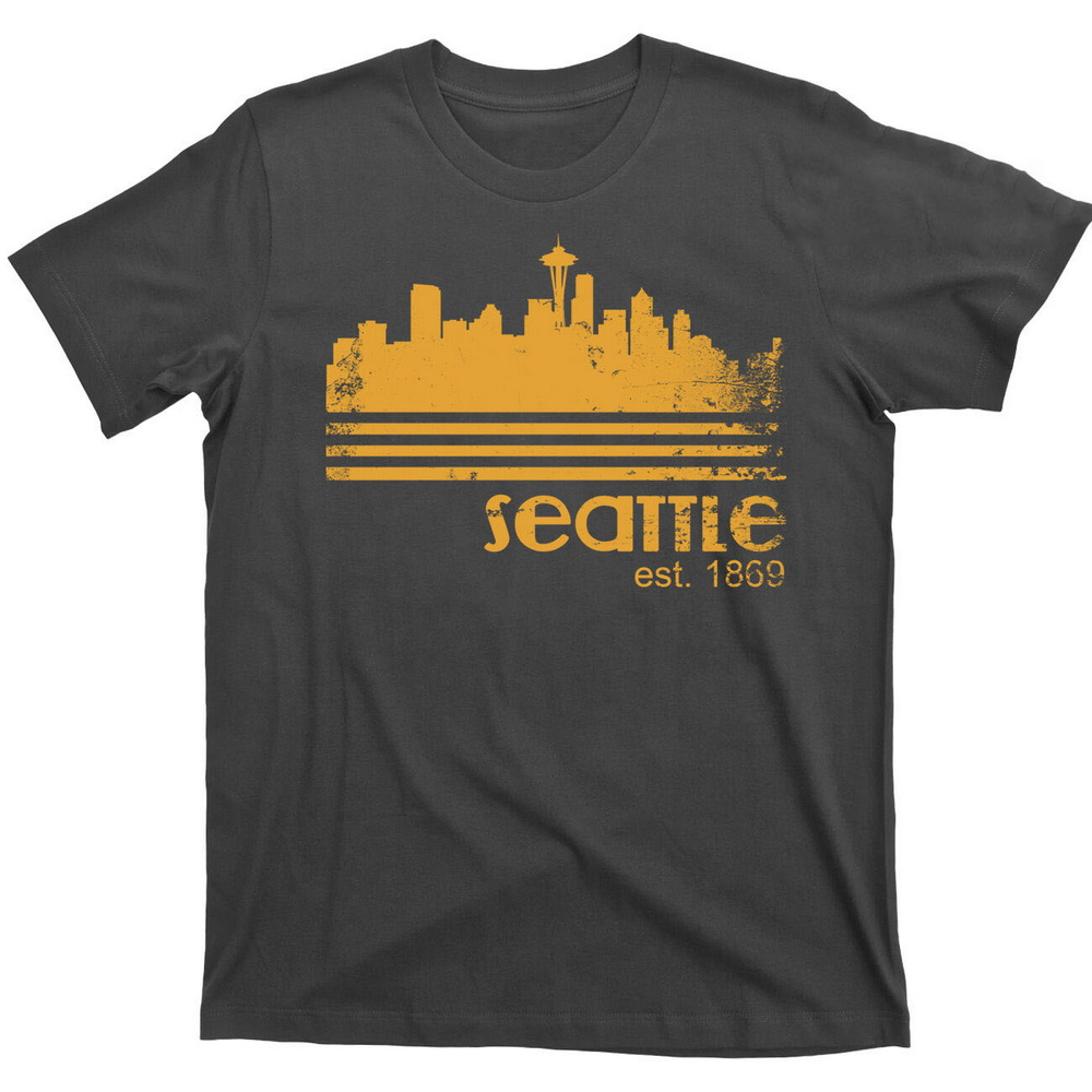 City Of Seattle Washington Portland Pacific Ocean Vintage Coffee 80s T-Shirt Tee Cotton Top Quality Tops Tee Shirt image