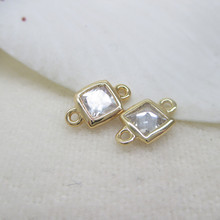 6pcs 4mm 5.5mm 24k Champagne Gold Color Brass With Zircon 2 Holes Square Connect Charms Jewelry Findings Earrings Accessories