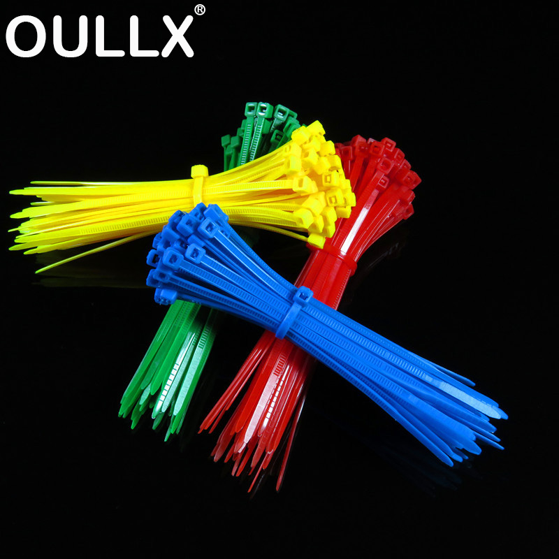 OULLX 100pcs Self-locking Nylon Cable Ties 2.5*100-200mm Plastic Zip Ties 18 Lbs Black Wire Binding Wrap Straps Wire Zip Tie